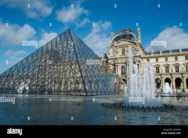 Fountain And Pyramid Louvre Art In