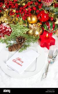 Christmas Dinner Table Decoration Gold Stock Photos ...