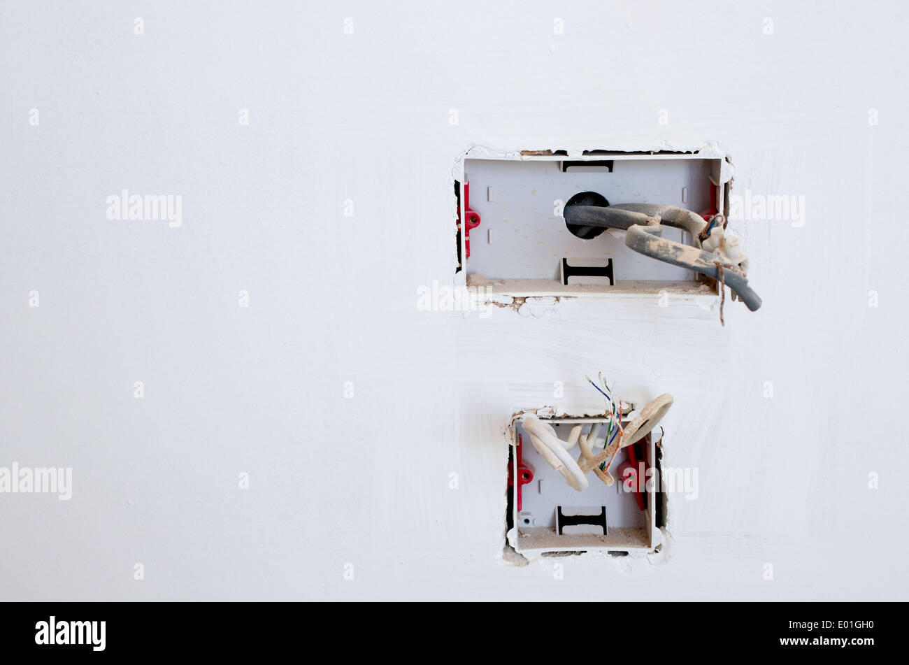 hight resolution of exposed wiring in an unfinished plug socket stock image