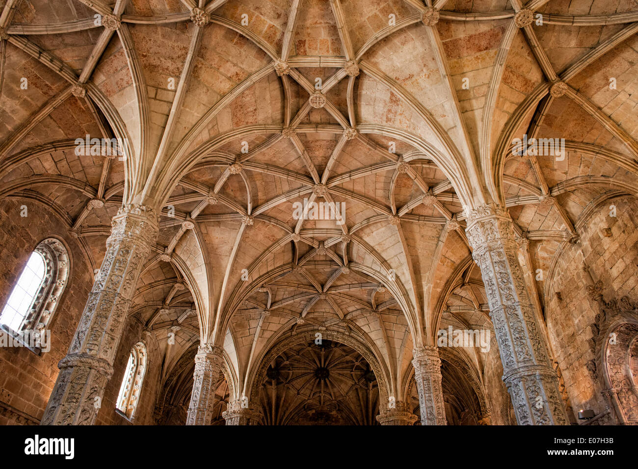 Gothic style ribbed vault ceiling of the Jeronimos