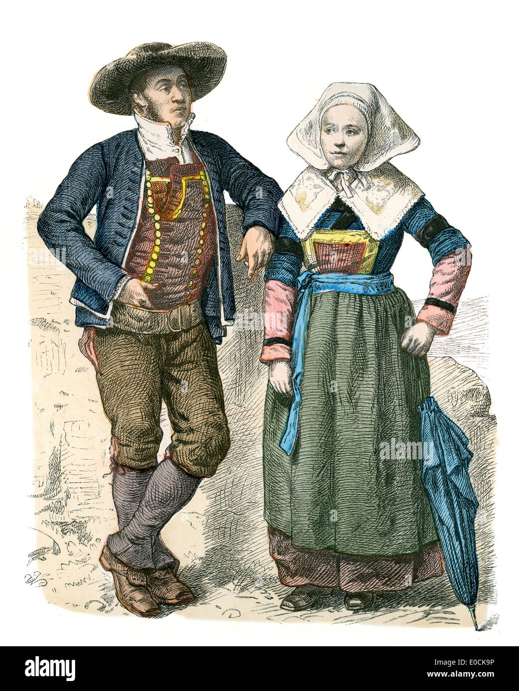 Traditional Costumes Of France Man And Woman Of Brittany