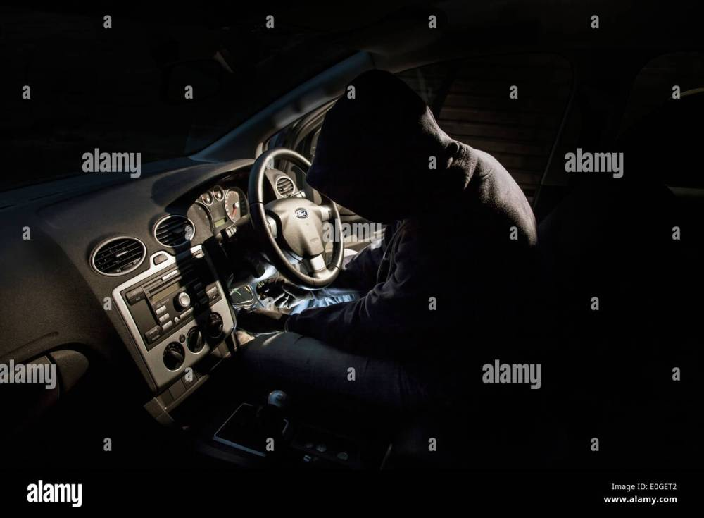 medium resolution of thief hot wiring a car stock image