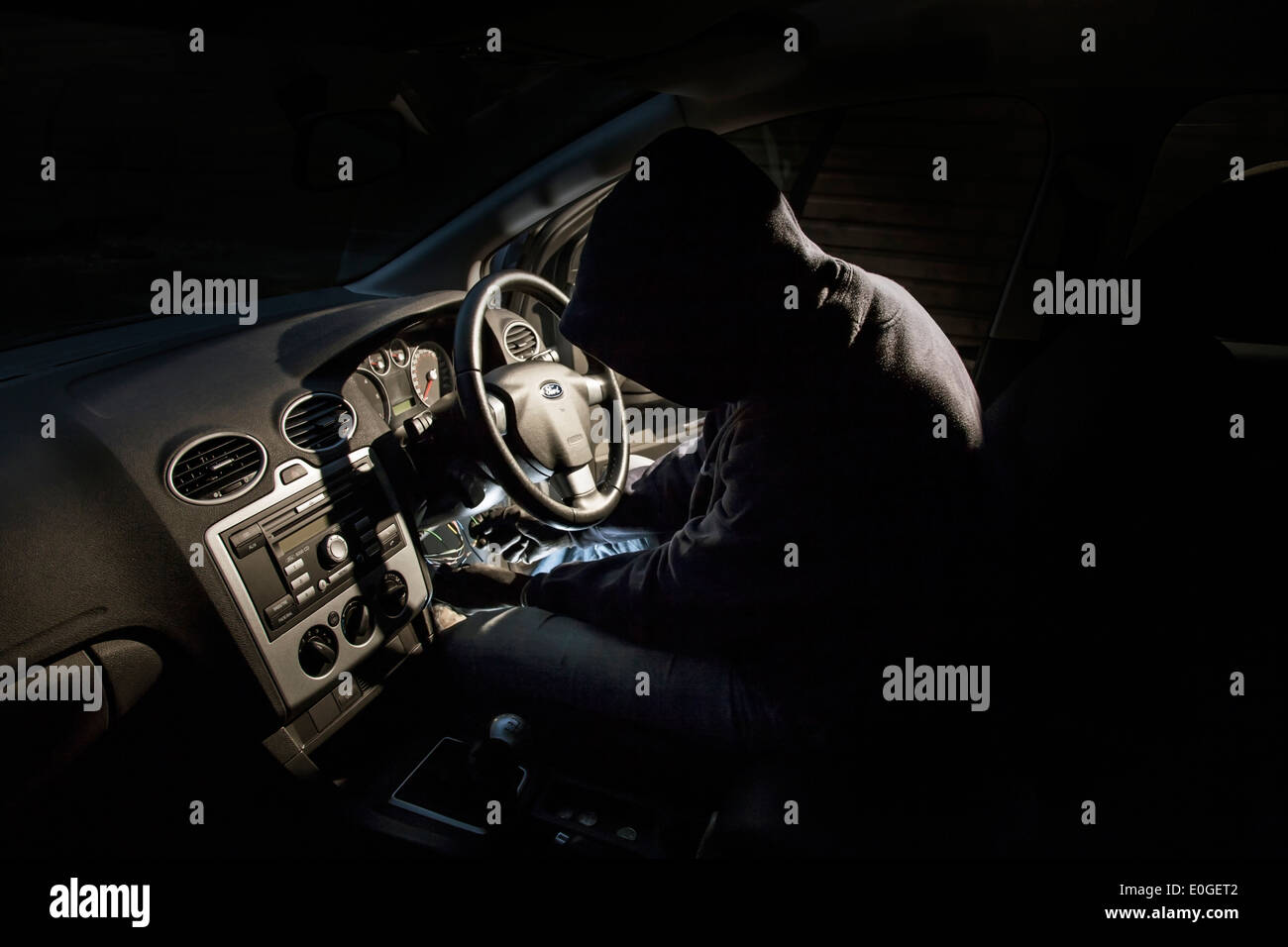 hight resolution of thief hot wiring a car stock image