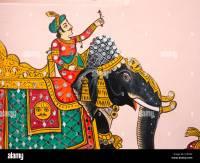 India, Rajasthan, Udaipur, Rajasthani Folk Art, wall ...