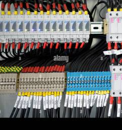 fuse box cables wiring diagram showfuse box with many cables stock photo 69563746 alamy fuse box [ 1300 x 955 Pixel ]