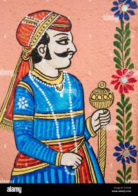 India, Rajasthan, Udaipur, traditional wall painting of ...