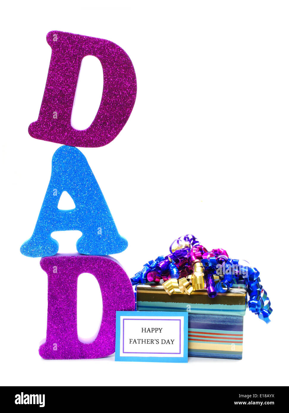 Shiny Letters Spelling Dad With Gift Box And Happy Fathers Day Tag