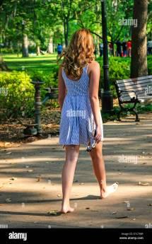Woman Walking Barefoot Park Stock &