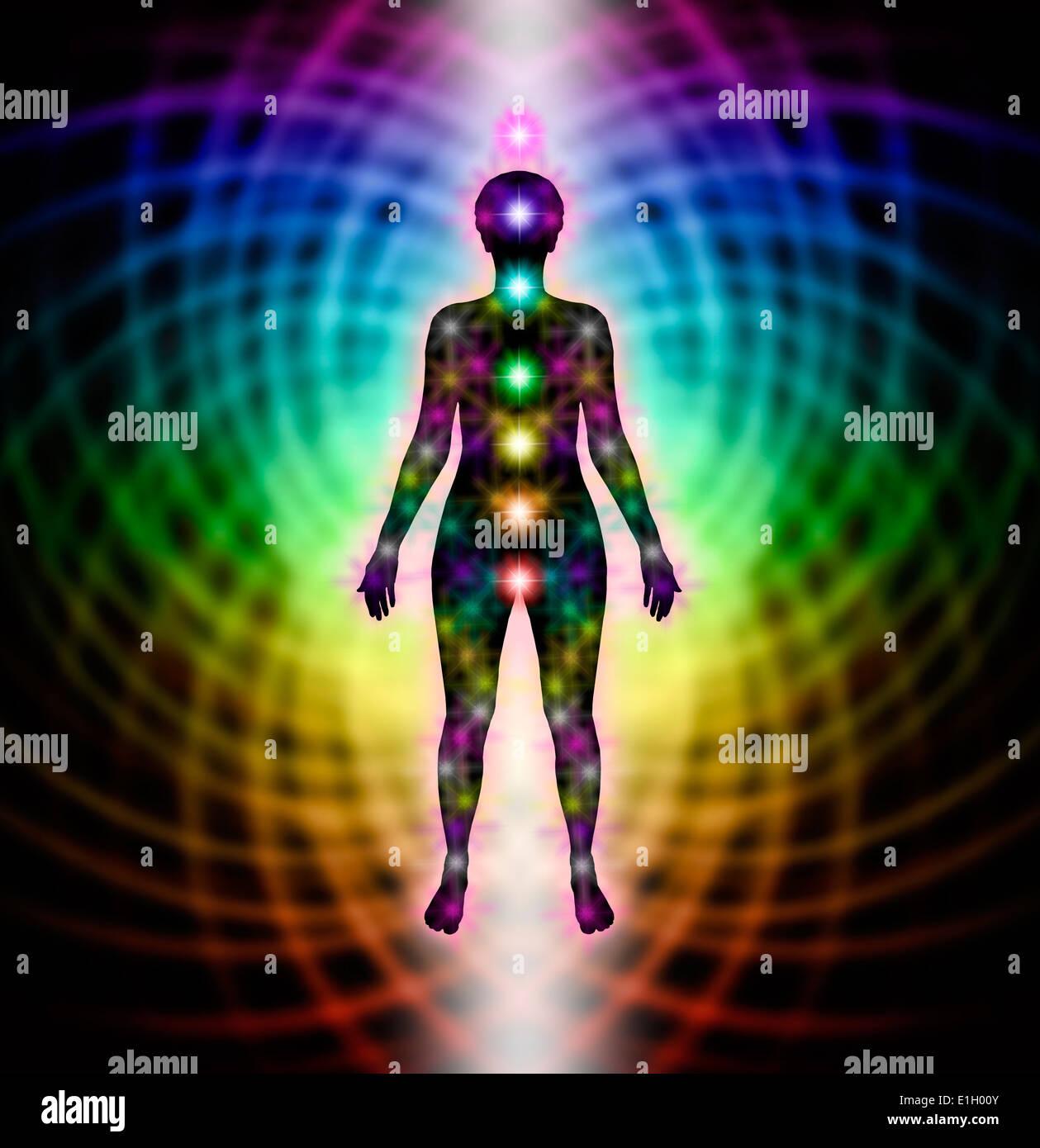 hight resolution of human chakra silhouette diagram on rainbow matrix background