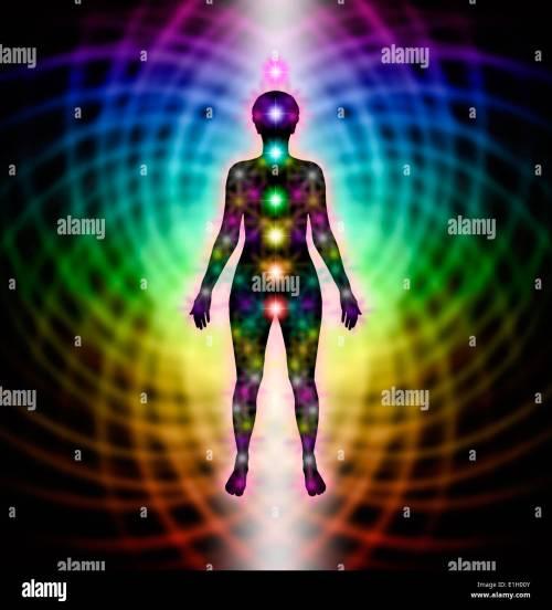 small resolution of human chakra silhouette diagram on rainbow matrix background