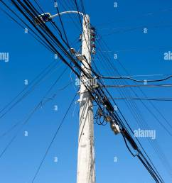 concrete streetlight telegraph pole with electricity and telephone wires punta arenas chile stock image [ 866 x 1390 Pixel ]