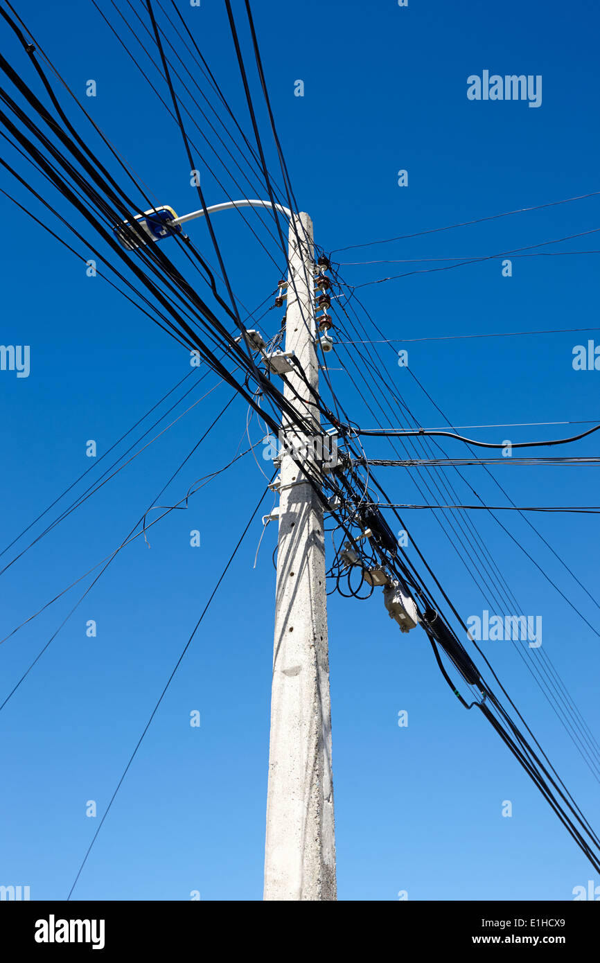 hight resolution of concrete streetlight telegraph pole with electricity and telephone wires punta arenas chile stock image
