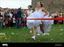 Narva Estonia. 7th June 2014. Women In Wedding Dresses