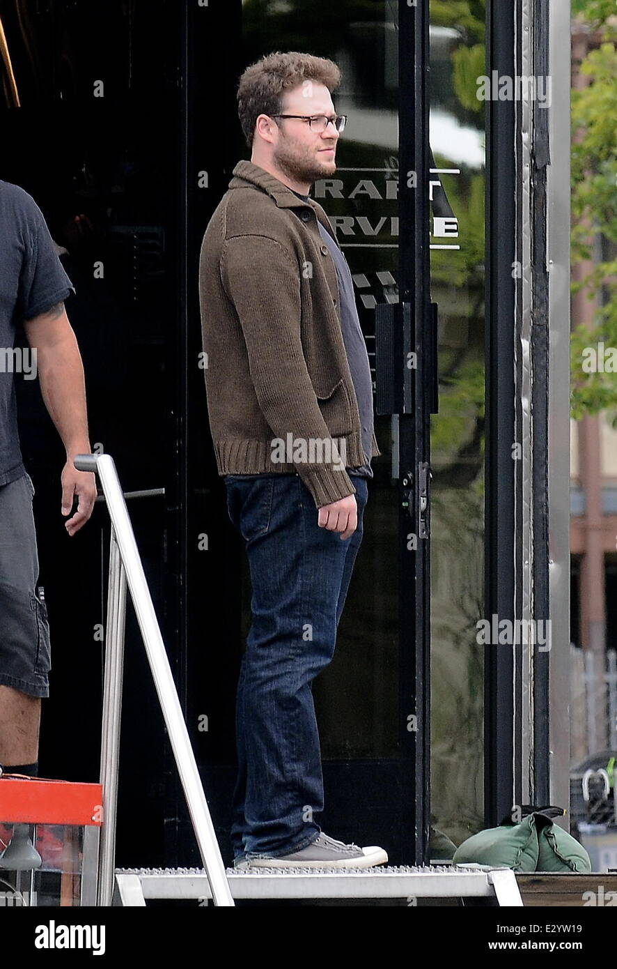 Actor Seth Rogen Gets A Surprise Visit On His Birthday From His Wife Lauren Miller On The Set Of Townies Featuring Seth Rogen Where Los Angeles Ca
