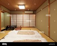 Traditional Japanese room at a ryokan with futons on the