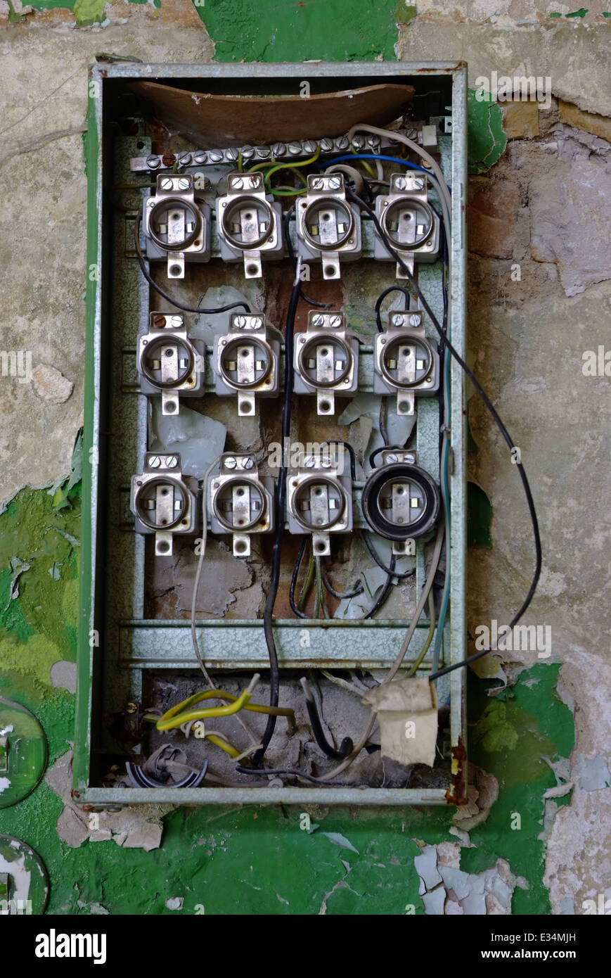 hight resolution of old fuse box in an abandoned house