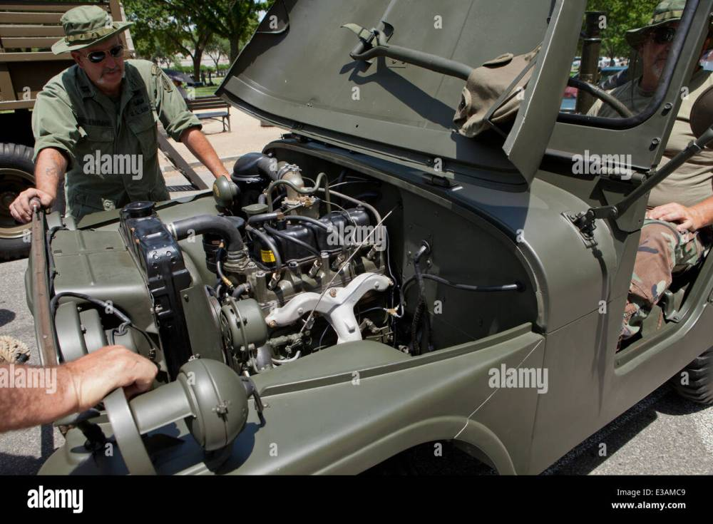 medium resolution of wwii era us army reenactors looking under the hood of willys jeep usa stock