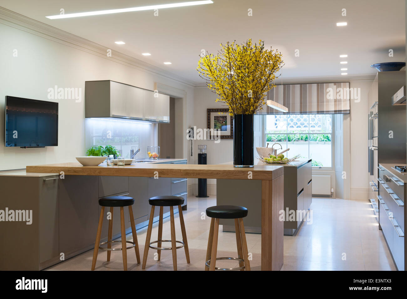 Modern Bulthaup kitchen with breakfast bar and stools Stock Photo 71165979  Alamy