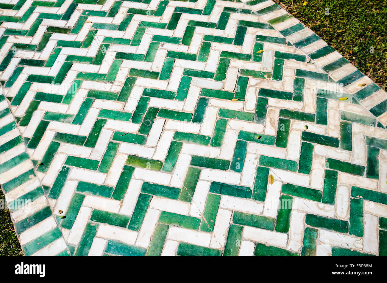 https www alamy com stock photo garden path made from green and white rectangular ceramic tiles laid 71173332 html