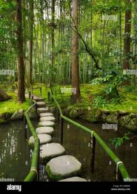 Stepping stones in a pond at a Japanese Zen garden. Kyoto ...