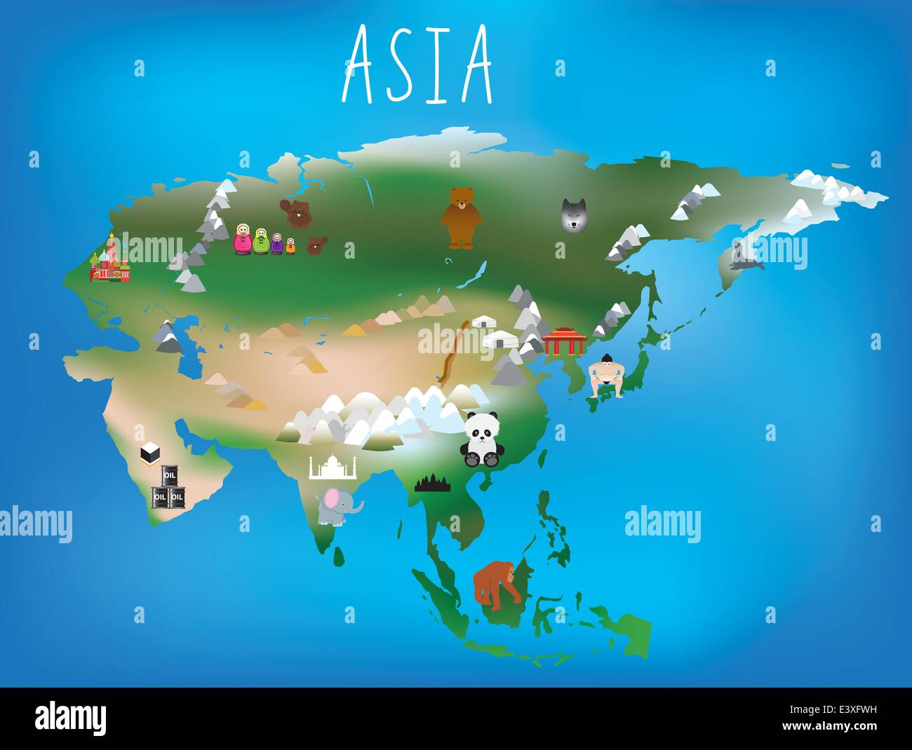 Www Jolie Carte Com Cute Illustrated Map Of Asia With Space To Add Country Names In