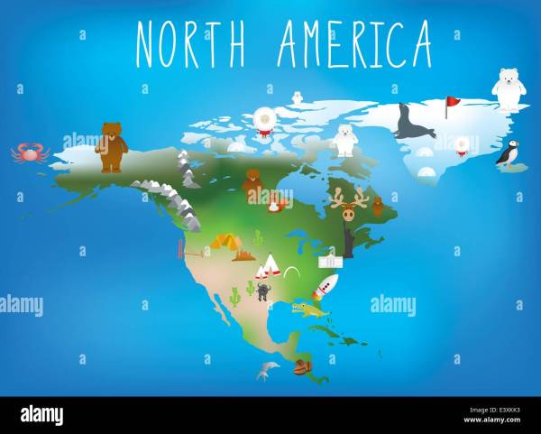 map of north america showing famous landmarks Stock Vector