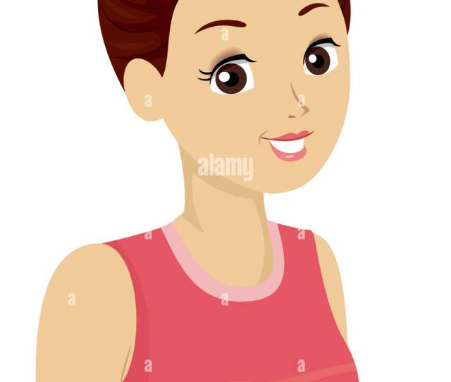 Illustration Of A Girl With Her Hair Tied Up In A Bun