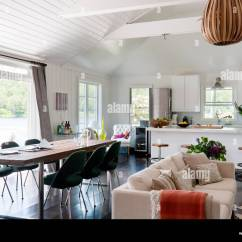 Ikea Usa Chairs Dentist Chair For Sale Open Plan White Living Space With Kitchen Units, Knoll Saarinen Stock Photo: 71582600 - Alamy