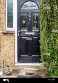 House entrance - black front door with decorative glass ...
