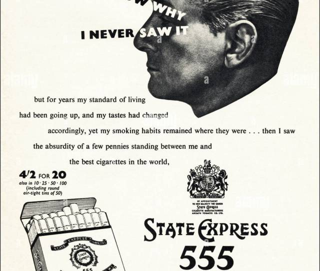 1950s Advert For State Express 555 In British Magazine Dated August 1956