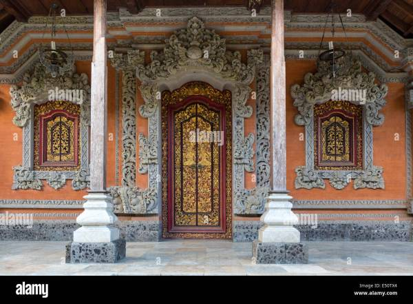 Bali Indonesia. Carved Doorway Hindu Priest' House Family Stock Royalty Free