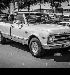 berlin germany may 17 2014 full size pickup truck chevrolet c20 black and white 27th oldtimer day berlin brandenburg [ 1300 x 956 Pixel ]