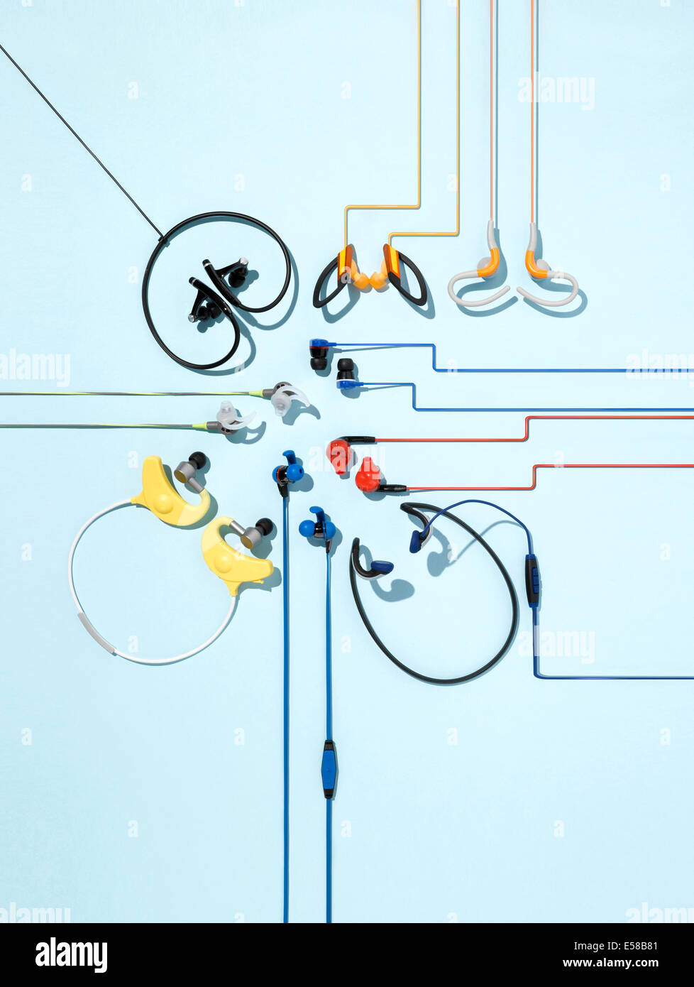 hight resolution of a creative still life of a variety of different styles of headphones