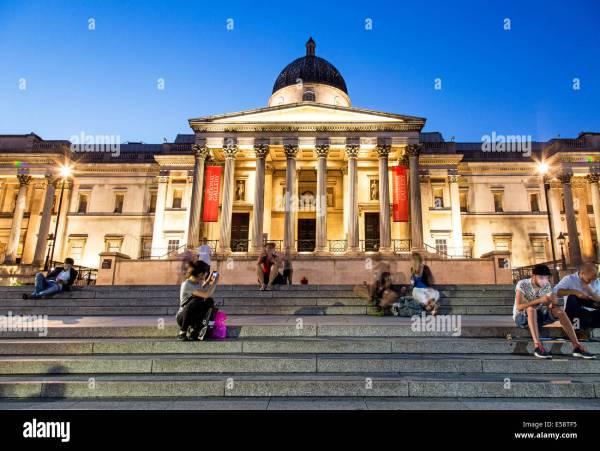 National Trafalgar Square Night London Uk Stock