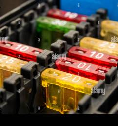 close up on a car fuse box stock photo 72229757 alamy fuse box car replacement close [ 1300 x 953 Pixel ]