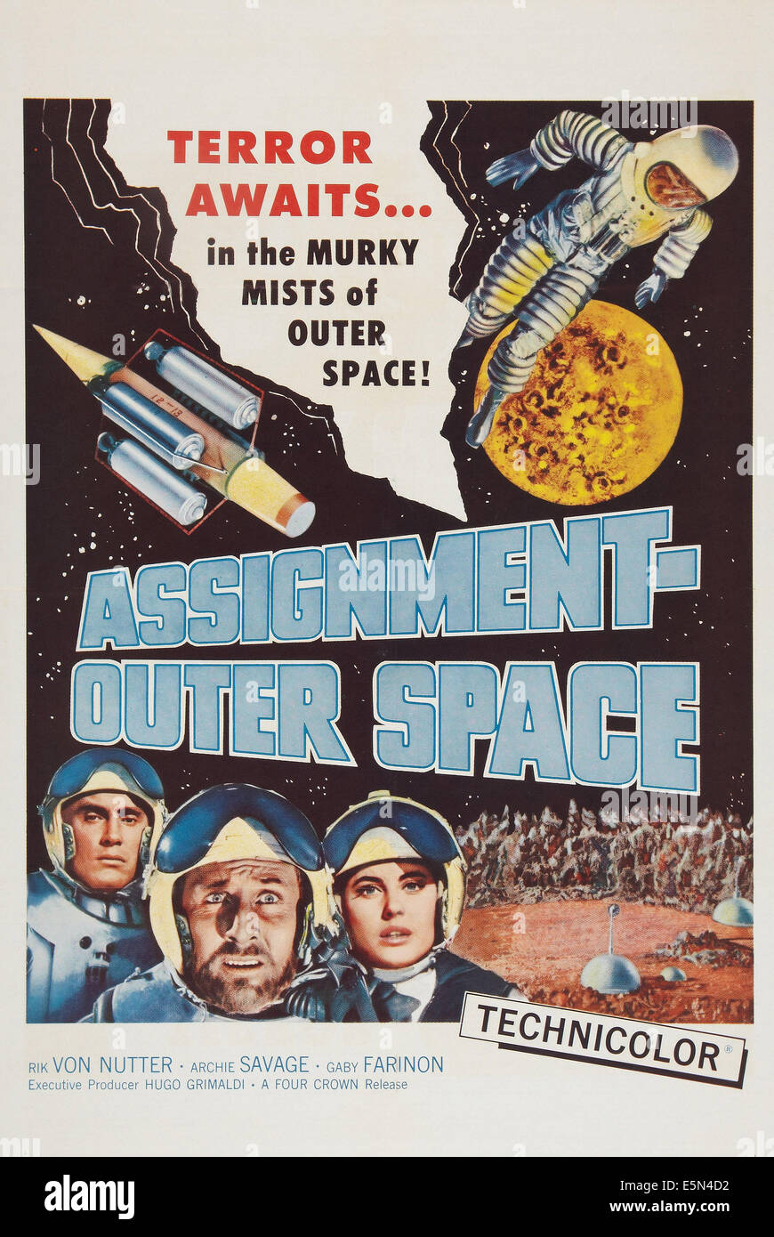 https www alamy com stock photo space men aka assignment outer space poster art 1960 72379246 html
