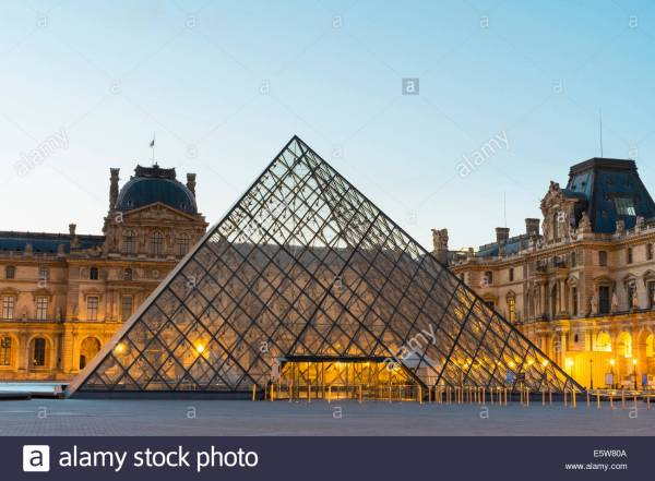 Courtyard And Glass Pyramid Of Louvre Museum