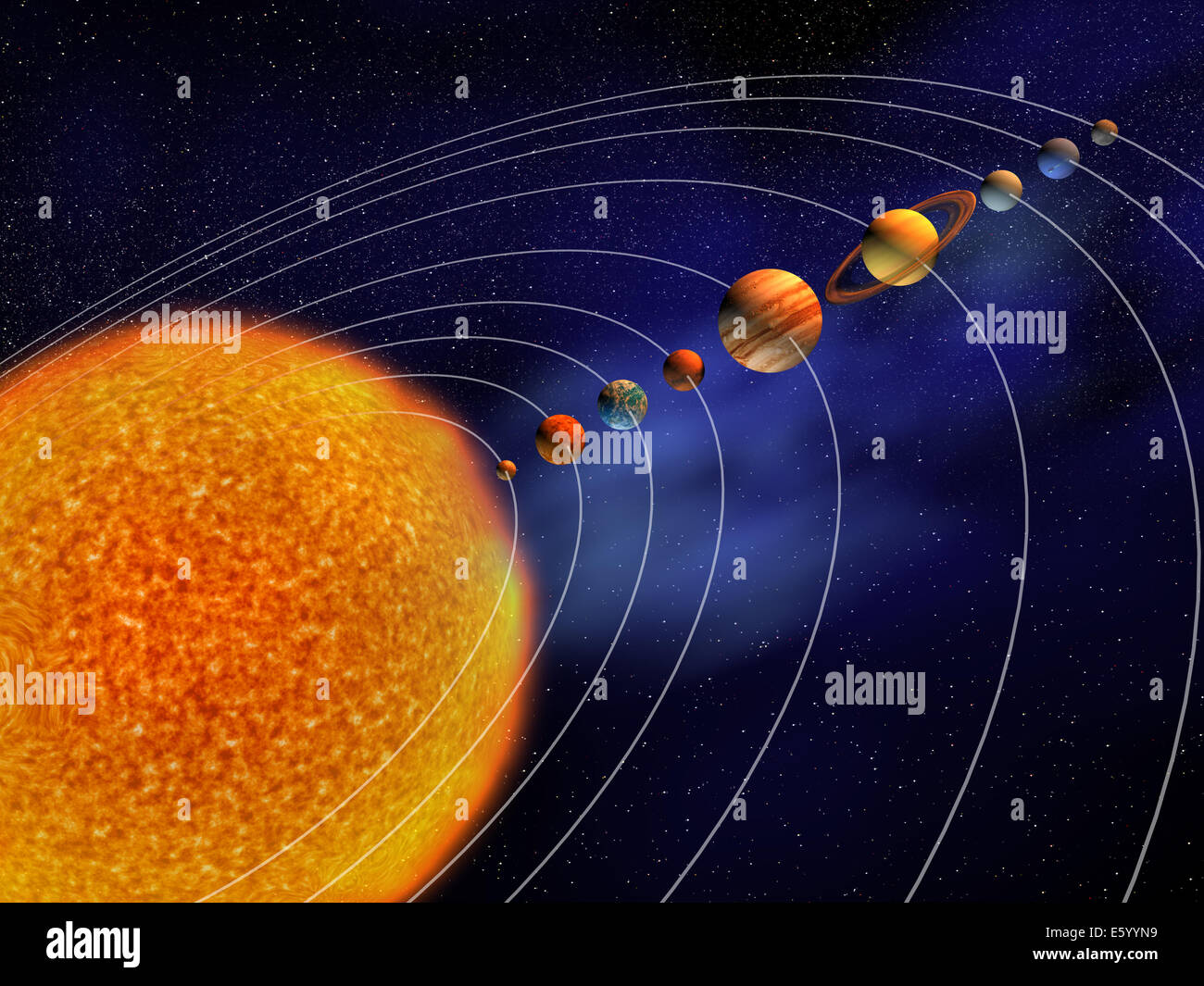 hight resolution of solar system this is a 3d render illustration stock image