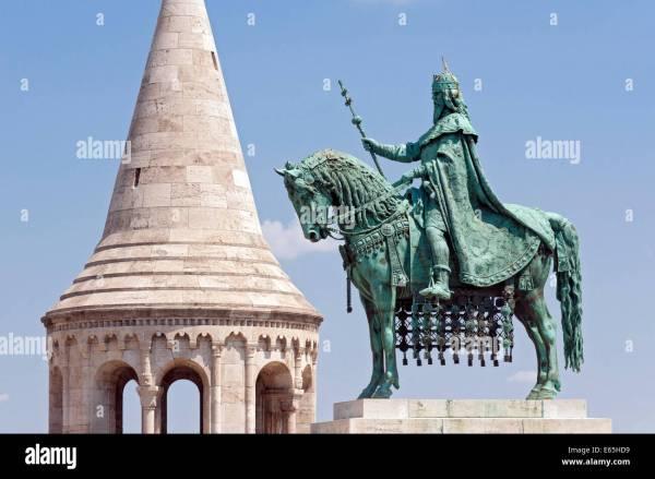 Equestrian Statue Of King Saint Stephen Buda Castle Hill Budapest Stock 72652869 - Alamy