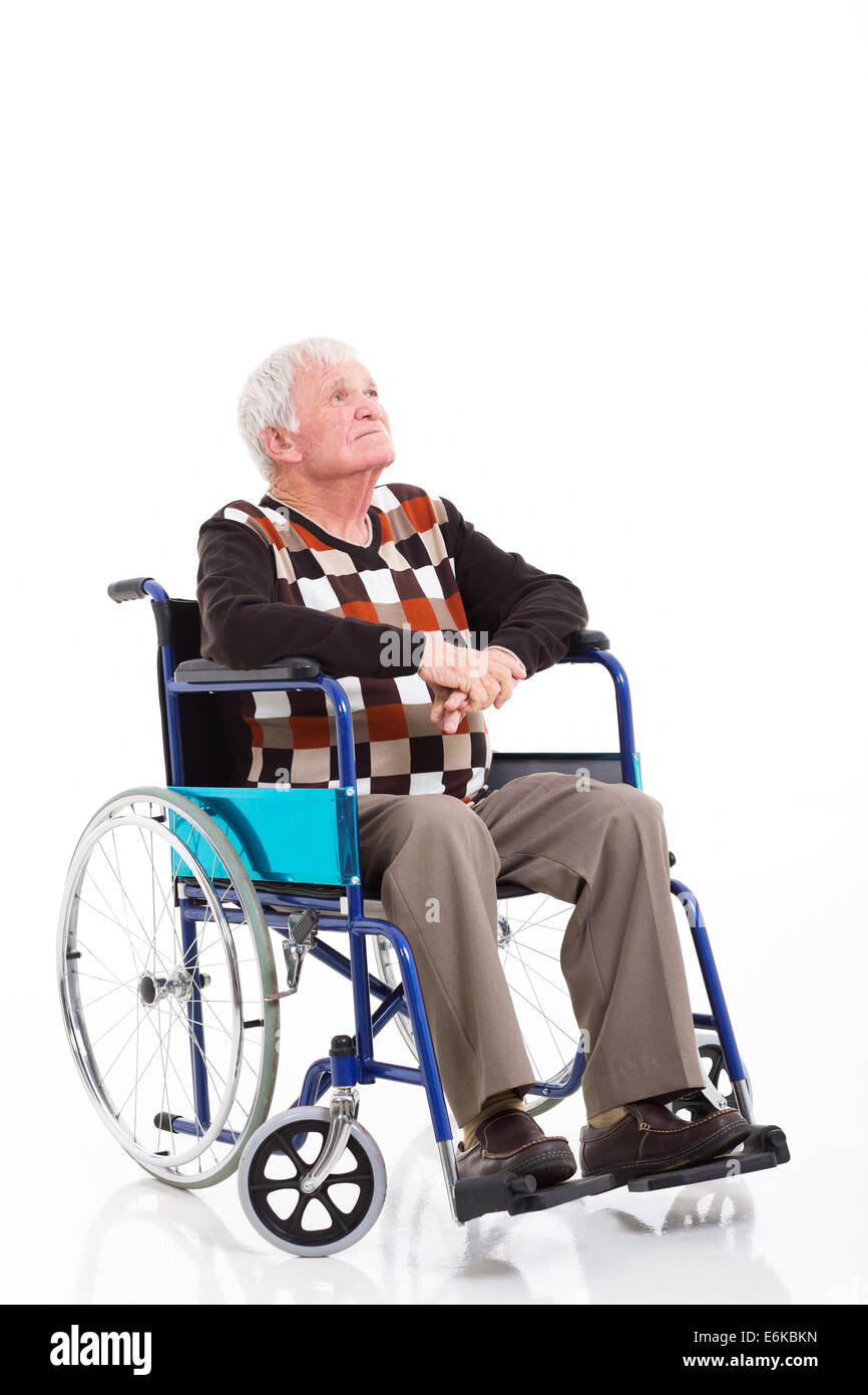 wheelchair man salon hydraulic chair philippines thoughtful senior on a looking up isolated white