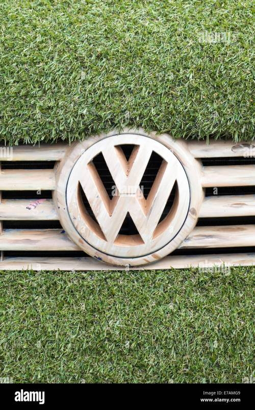 small resolution of eco transporter van covered in astro turf and with wooden volkswagen badge and grill stock
