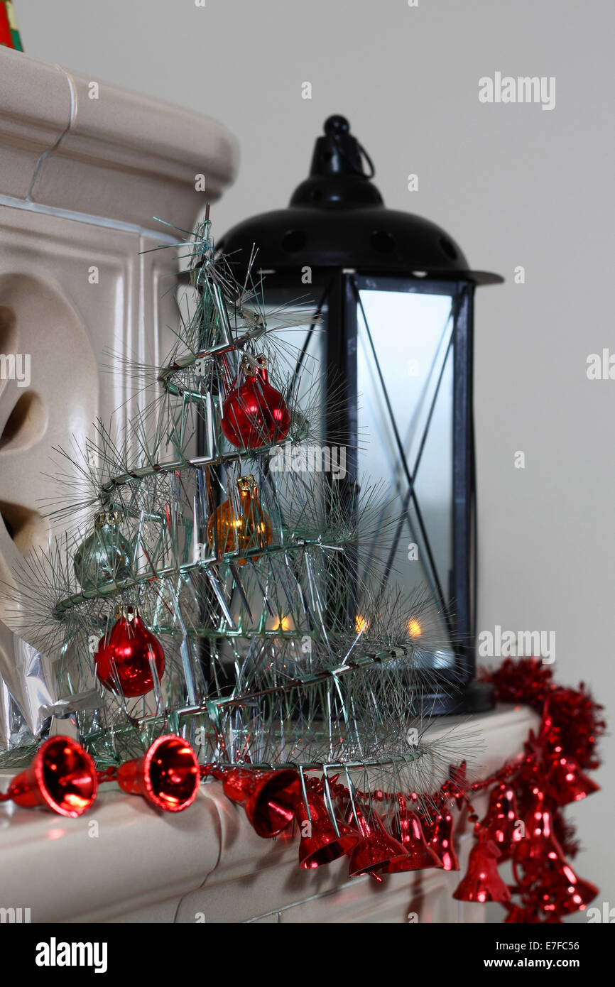 Fireplace With Christmas Decorations And Lantern Stock Photo Alamy