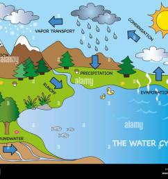 illustration of funny water cycle stock image [ 1300 x 1064 Pixel ]