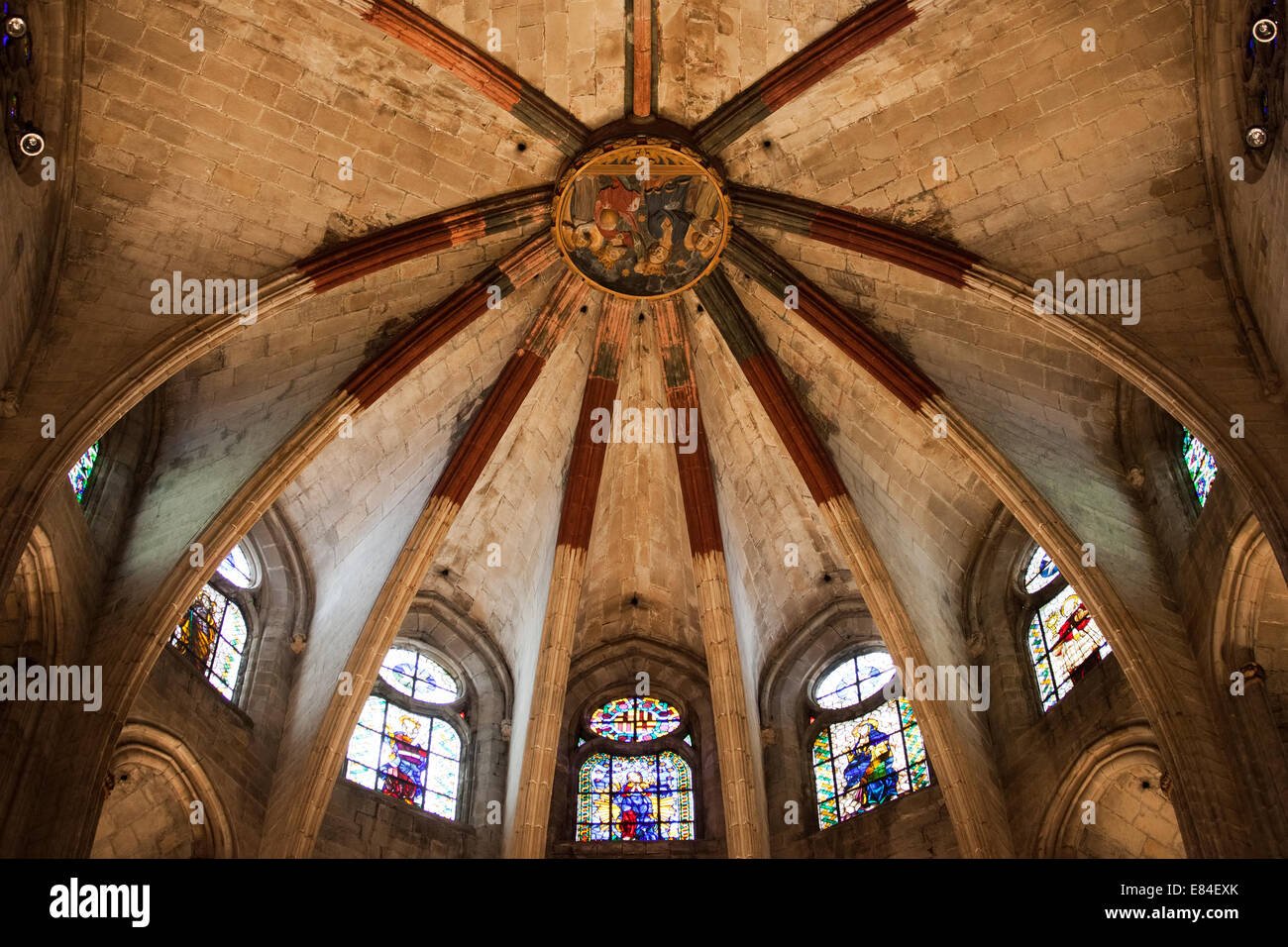 Gothic ribbed vault of the apse in Basilica of Santa Maria
