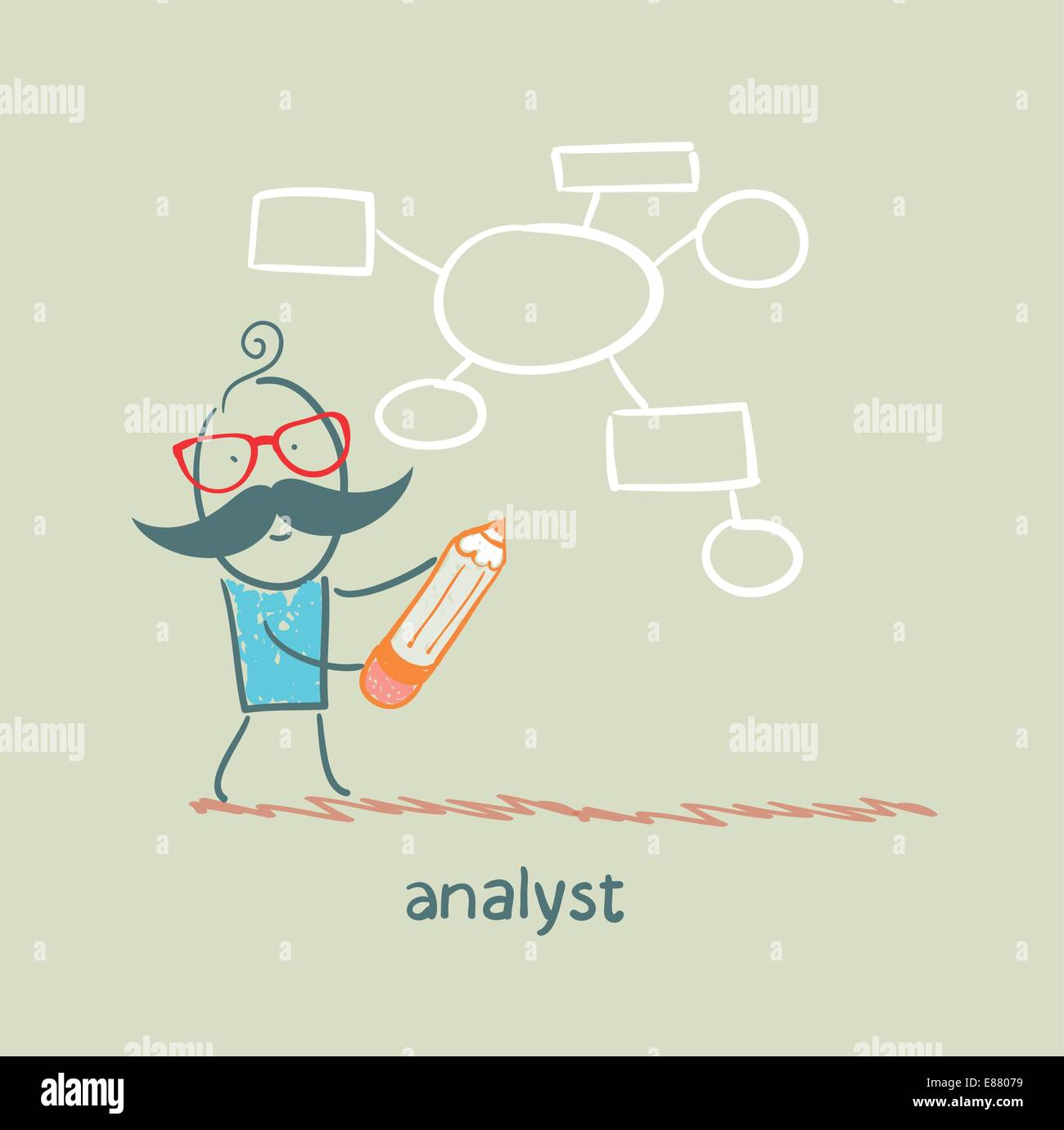 hight resolution of analyst draws a diagram with a pencil