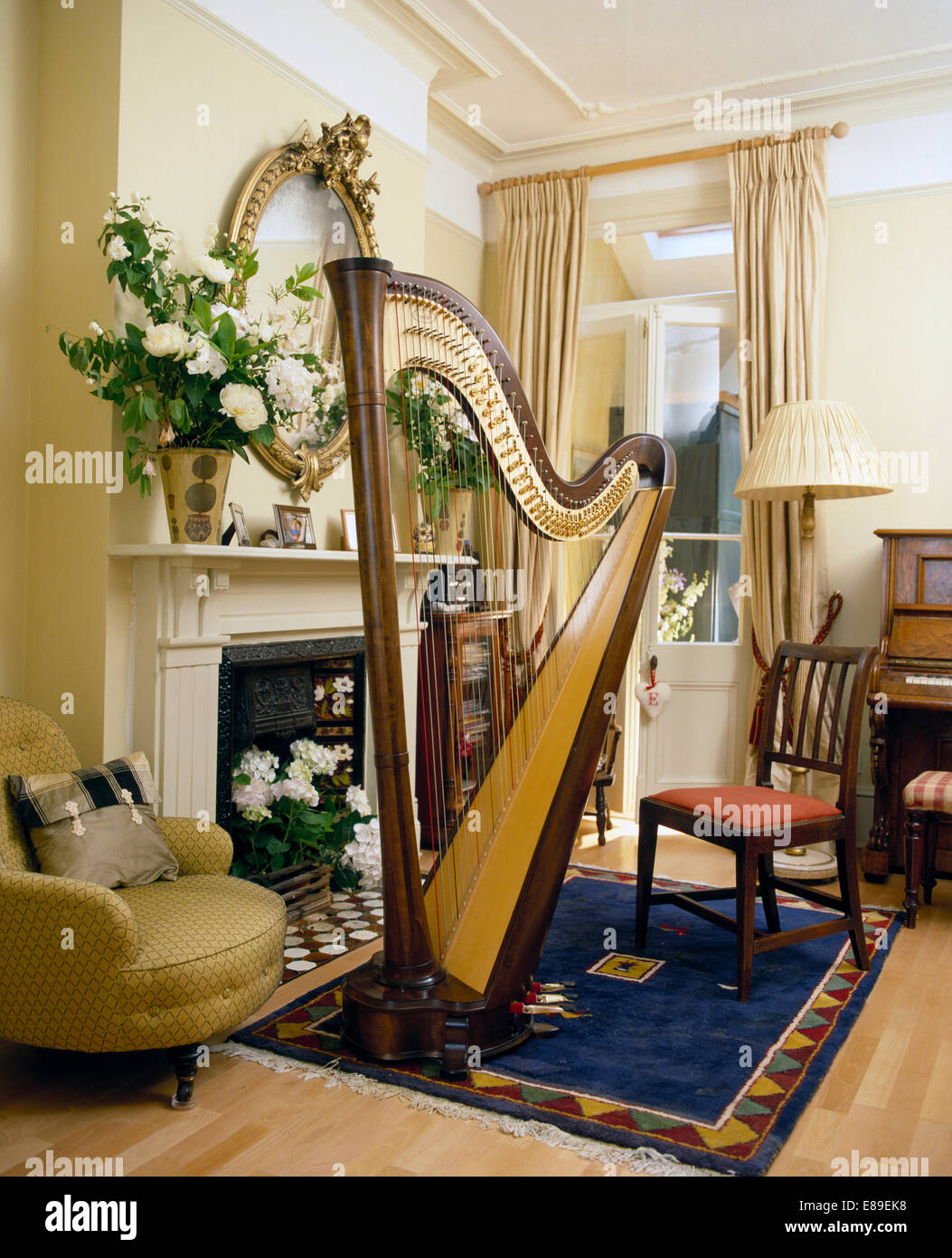 Large Harp On Blue Rug In Front Of Fireplace With Vase Of