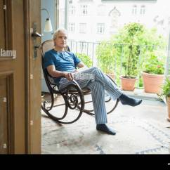 Old Lady Chair Wing Back Slipcover Pattern Mature Man Sitting In Rocking Stock Photo 73981072