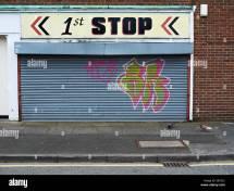 Closed 1st Stop In Crewe Cheshire Uk Stock