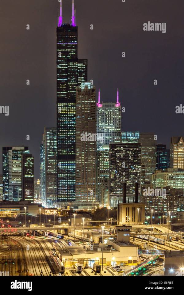 Usa Illinois Cook County Chicago Willis Tower Night