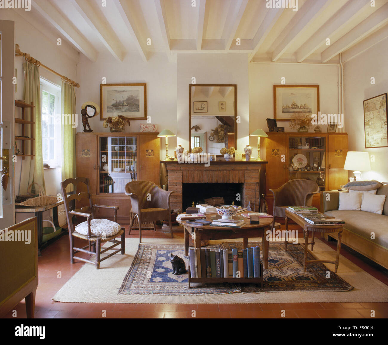 pictures of country living rooms build in shelves room lloyd loom chairs and comfortable sofa french with white painted ceiling beams